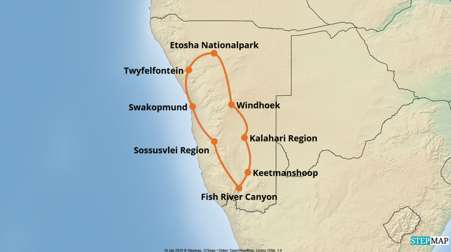 Karte der Reise: Luxus Mietwagenreise